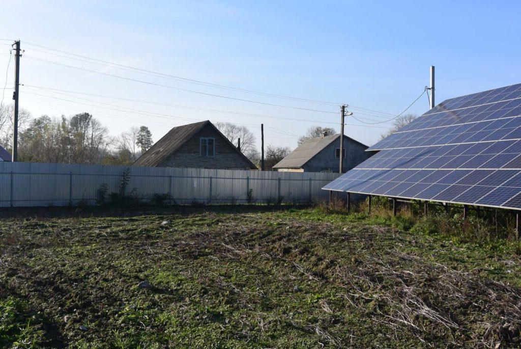 тень на солнечных панелях