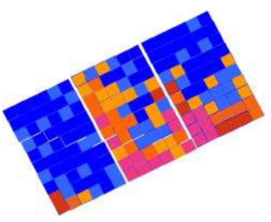 Одиночные ячейки горячие, нижние и ближе к рамке панели ячейки горячее средних и тех что вверху.
