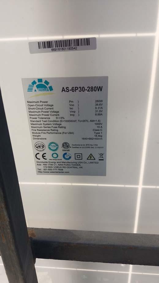 Amerisolar, AS-6P30-280Вт